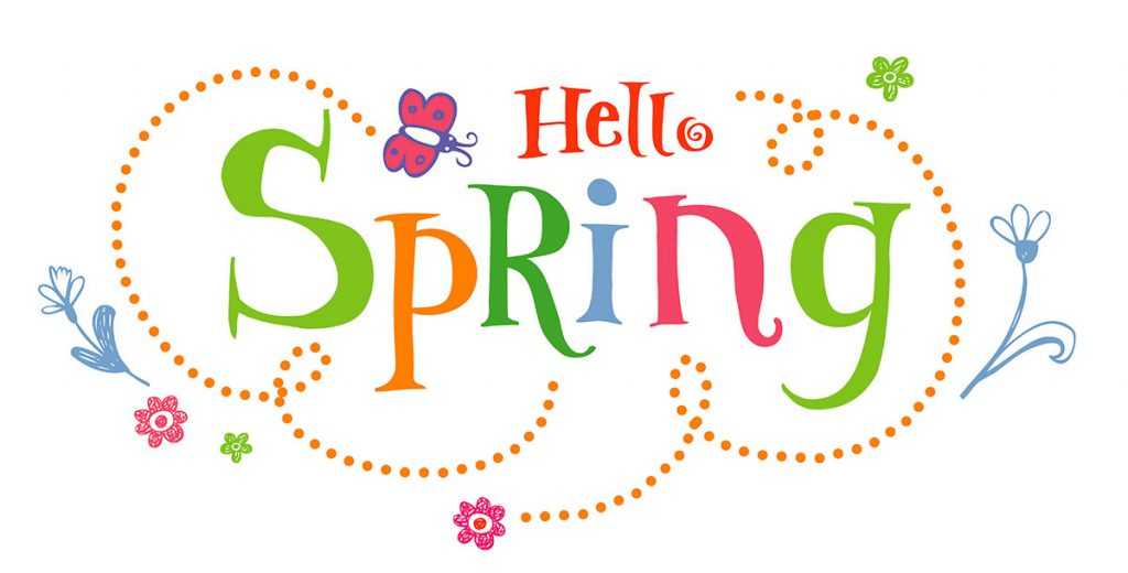 Happy Spring Graphic with flowers and butterflies